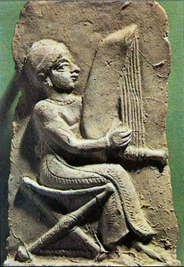 Man Playing Harp
